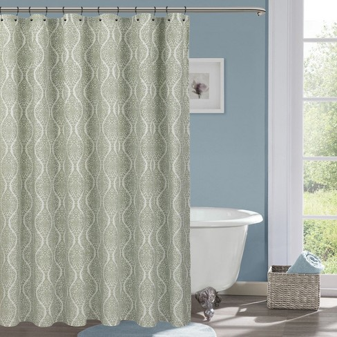 Wave Lines Shower Curtain White