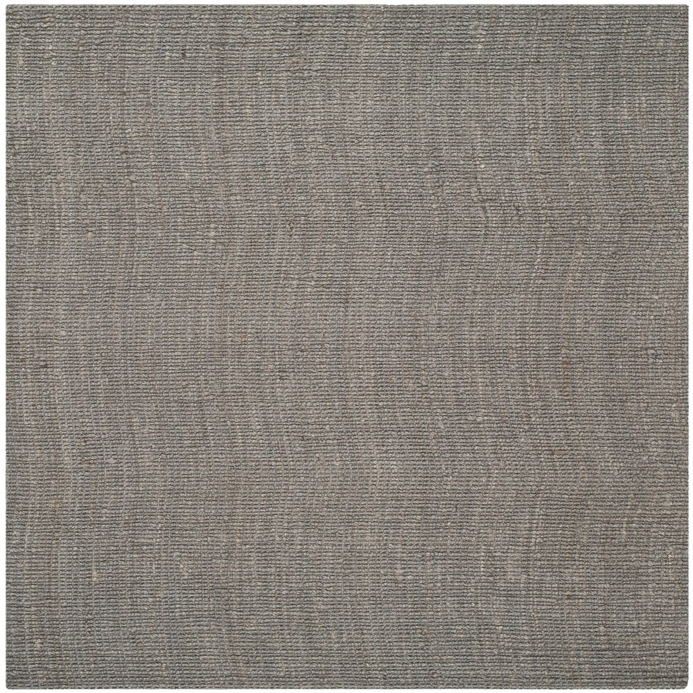 Solid Woven Square Area Rug Light Gray