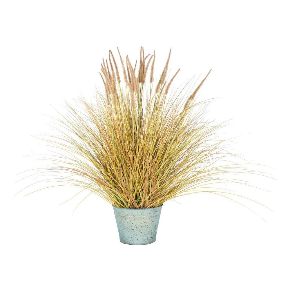 Artificial Dogtail Grass Bush with Metal Pot (45) Brown/Green - Vickerman