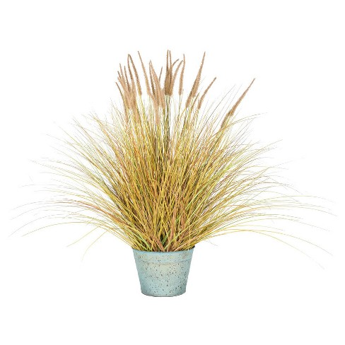 "Artificial Dogtail Grass Bush with Metal Pot (45"") Brown/Green - Vickerman - image 1 of 1"