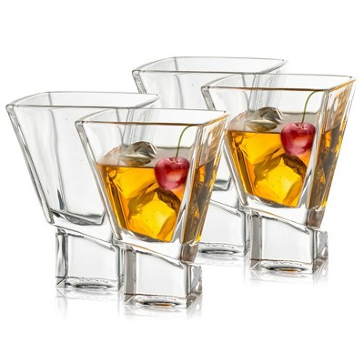 JoyJolt Carre Collection Cocktail Glasses - Set of 4 Square Heavy Base Martini Glass Set - 8-Ounce