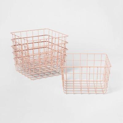 """1/2 11"""" 4pk Wire Basket Blush - Room Essentials™"""