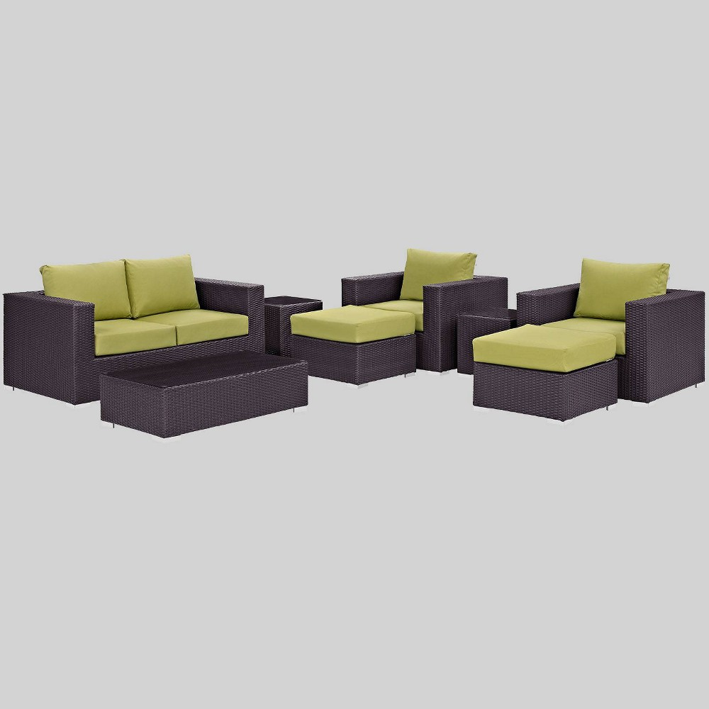 Convene 8pc Outdoor Patio Sofa Set - Peridot - Modway