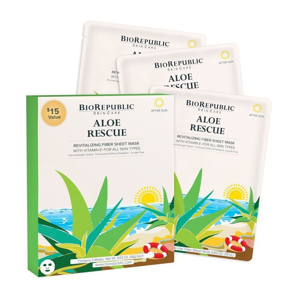 Image of BioRepublic Skincare Revitalizing Fiber Face Mask Sheets - Aloe & Vitamin E - 3ct