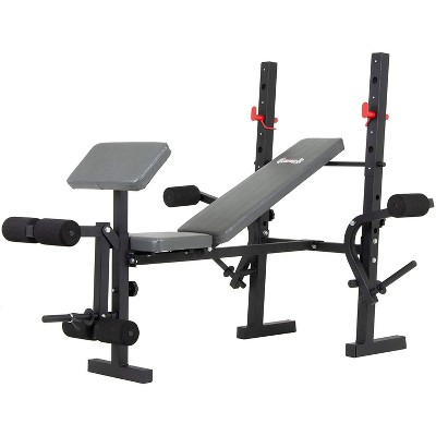 Body Champ BCB580 Standard Weightlifting Exercise Bench with Adjustable Incline Seat and Dual Action Leg Developer, Weight Set Not Included