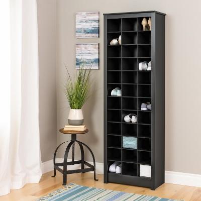 Space Saving Shoe Storage Cabinet Black   Prepac : Target
