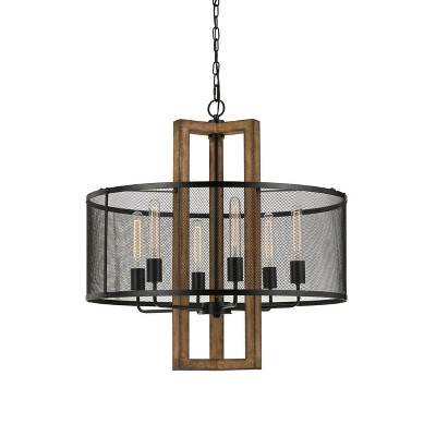 Monza Wood Chandelier With Mesh Shade Brown 13  - Cal Lighting
