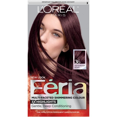 d82d747fe0b181 L'Oreal Paris Feria Multi-Faceted Shimmering Color - 36 Deep Burgundy Brown  - 1 Kit : Target