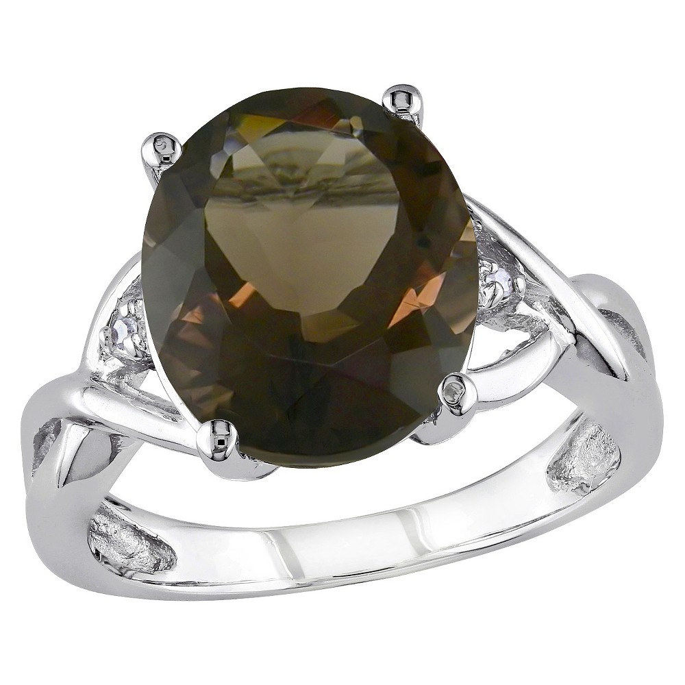 3.75 CT. T.W. Smokey Quartz and .01 CT. T.W. Diamond 3-Prong Setting Ring in Sterling Silver - 9 - Brown Price