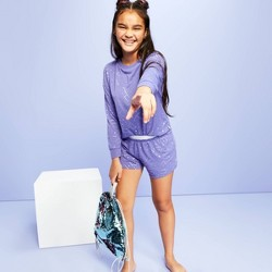 Girls' Star Printed Long Sleeve Pajama Set -  More Than Magic™ Purple