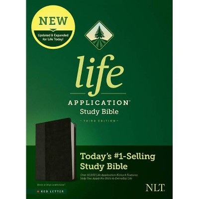 NLT Life Application Study Bible, Third Edition (Red Letter, Leatherlike, Black/Onyx) - (Leather Bound)