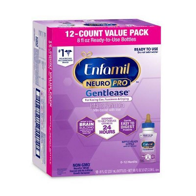 Enfamil Gentlease NeuroPro Ready to Use Infant Formula Bottles - 12ct/8 fl oz Each