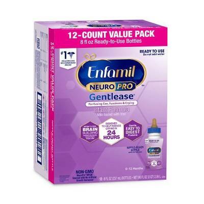 Enfamil Gentlease NeuroPro Ready to Use Infant Formula Bottles - 12ct/8 fl oz Each