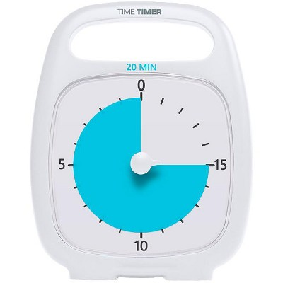 Time Timer PLUS 20 Minute Timer, 5-1/2 x 7 Inches, White