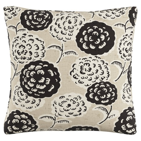 "Black/White Floral Throw Pillow (20""x20"") - image 1 of 4"
