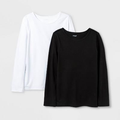 Girls' 2pk Adaptive Long Sleeve T-Shirt - Cat & Jack™ White/Black