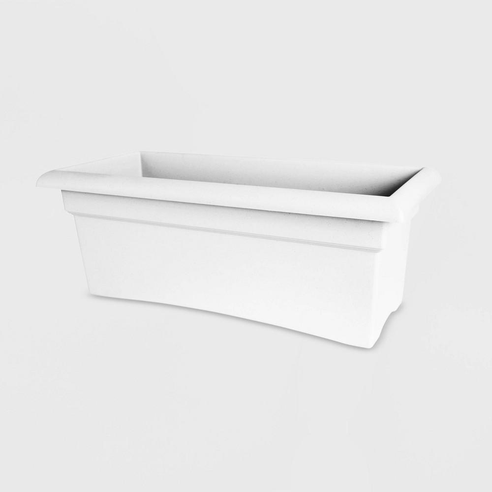 27 Rectangular Plastic Veranda Window Deck Box Planter White - Bloem