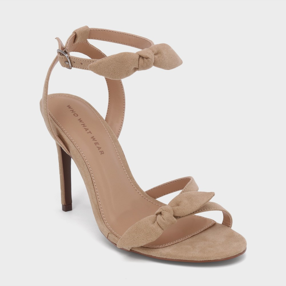 Women's Eden Heeled Ankle Strap Sandals - Who What Wear Taupe (Brown) 8