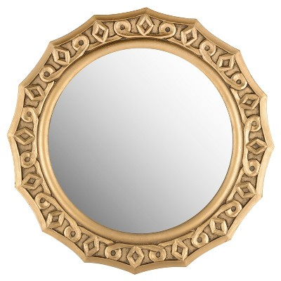Round Gossamer Lace Decorative Wall Mirror Gold - Safavieh®