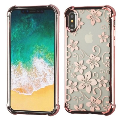 MYBAT For Apple iPhone X/XS Clear Rose Gold Hibiscus Flower Candy Case