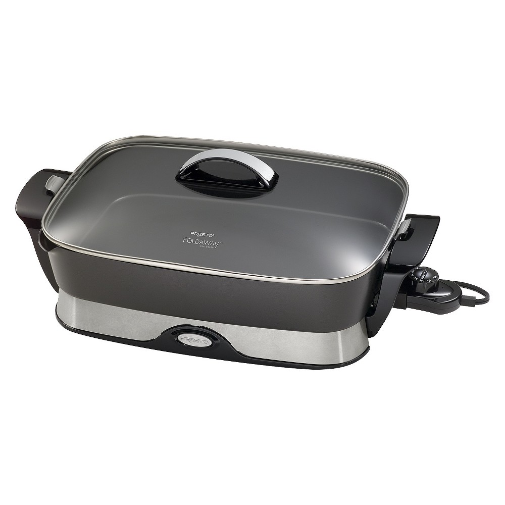 Presto 16  Foldaway Skillet- 06857 This Foldaway* skillet is generously sized yet compact to store with fold-down handles and a detachable base that nests inside the pan. Roast, fry, grill, stew, bake, and make one-dish meals all with the convenience of an easy-to-clean nonstick surface, inside and out. Extra high sidewalls and a big 16-inch base give this Foldaway* skillet added cooking and serving capacity. The tempered glass cover, stay-cool handle, and attractive base allow it to perform as a buffet server when entertaining. It's also more efficient to use than a range burner or oven, so you'll save on energy. The base, made of heavy cast aluminum, is virtually warp-proof and features a handy built-in spout that lets you pour liquids from the skillet as well as doubling as a spoon and spatula holder. The Control Master* heat control automatically maintains the desired cooking temperature. Skillet is fully immersible and dishwasher safe with the heat control removed.