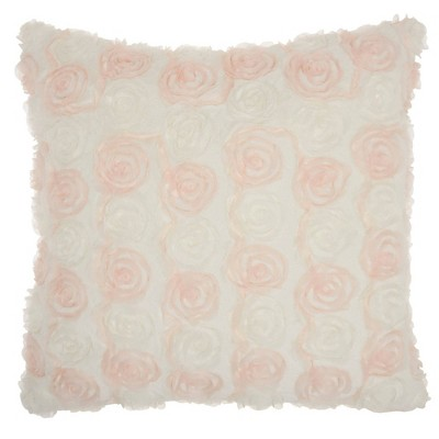 Oversized Chiffon Roses Faux Fur Throw Pillow Ivory - Mina Victory
