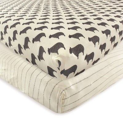 Hudson Baby Unisex Baby Cotton Fitted Crib Sheet - Sheep One Size