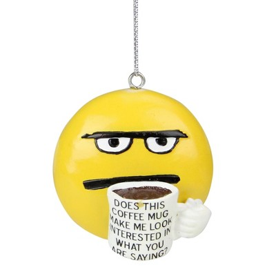 """Ganz 2.25"""" Coffee Break Coff-E-Motion Emoticon """"Does This Make Me Look Interested"""" Christmas Ornament - Yellow"""