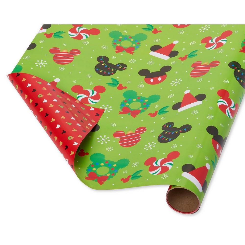 """Image of """"30"""""""" x 12ft Papyrus Christmas Mickey Reversible Gift Wrap, Black"""""""