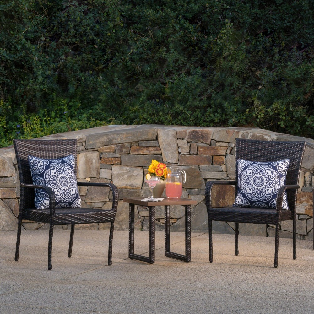 Cimino 3pc Wicker & Aluminum Chat Set - Brown - Christopher Knight Home