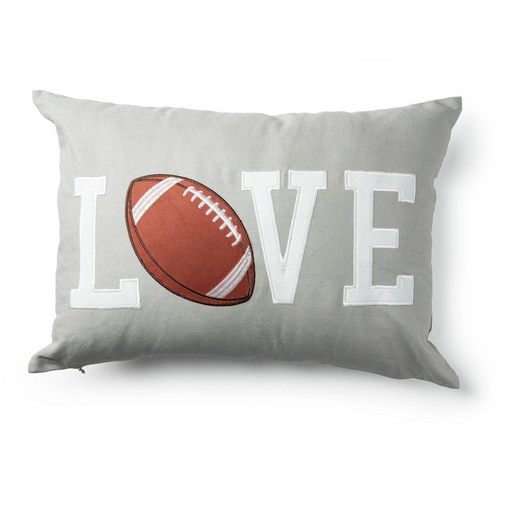 "Image of ""14""""x20"""" Love Football Decorative Throw Pillow Brown/Gray - SureFit"""