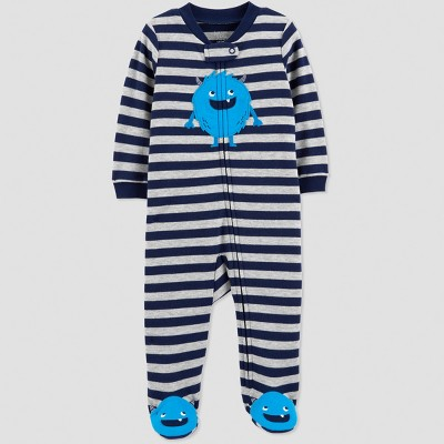 Baby Boys' Interlock Stripe Monster Sleep 'N Play - Just One You® made by carter's Navy Blue/Gray 6M