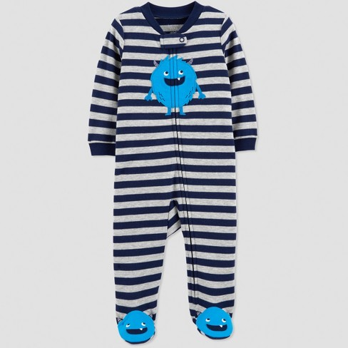 6e8008ad806 Baby Boys  Interlock Stripe Monster Sleep  N Play - Just One You® made by  carter s Navy Blue Gray