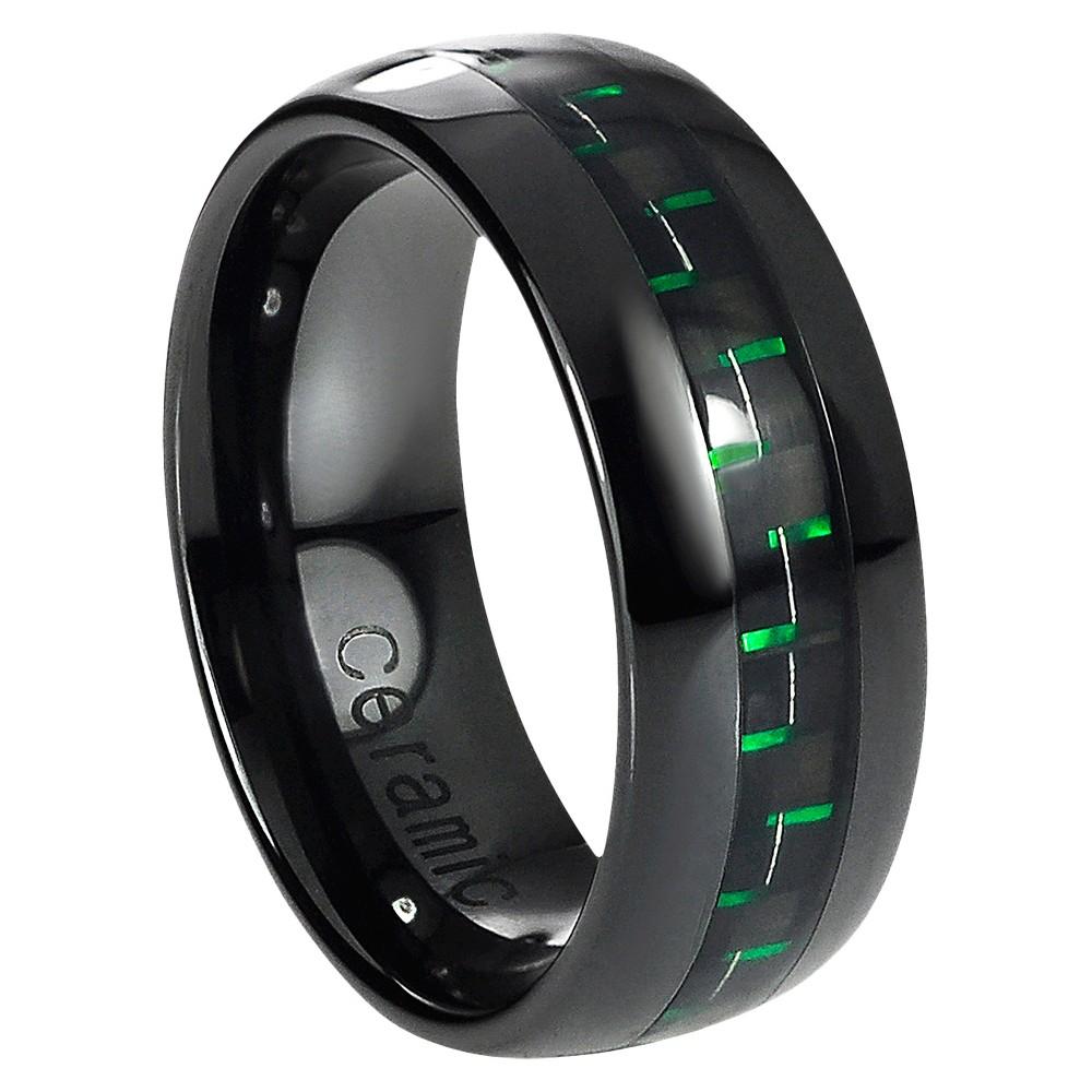 Men's Daxx Ceramic Band with Carbon Fiber Inlay - Black/Green (11)
