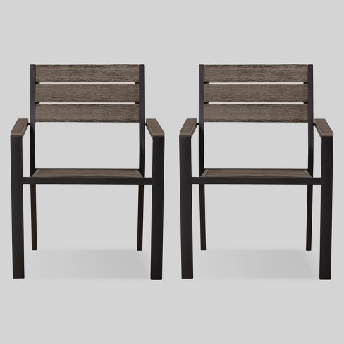 Mantega 2pk Faux Wood Patio Dining Chair - Project 62™ - image 1 of 4