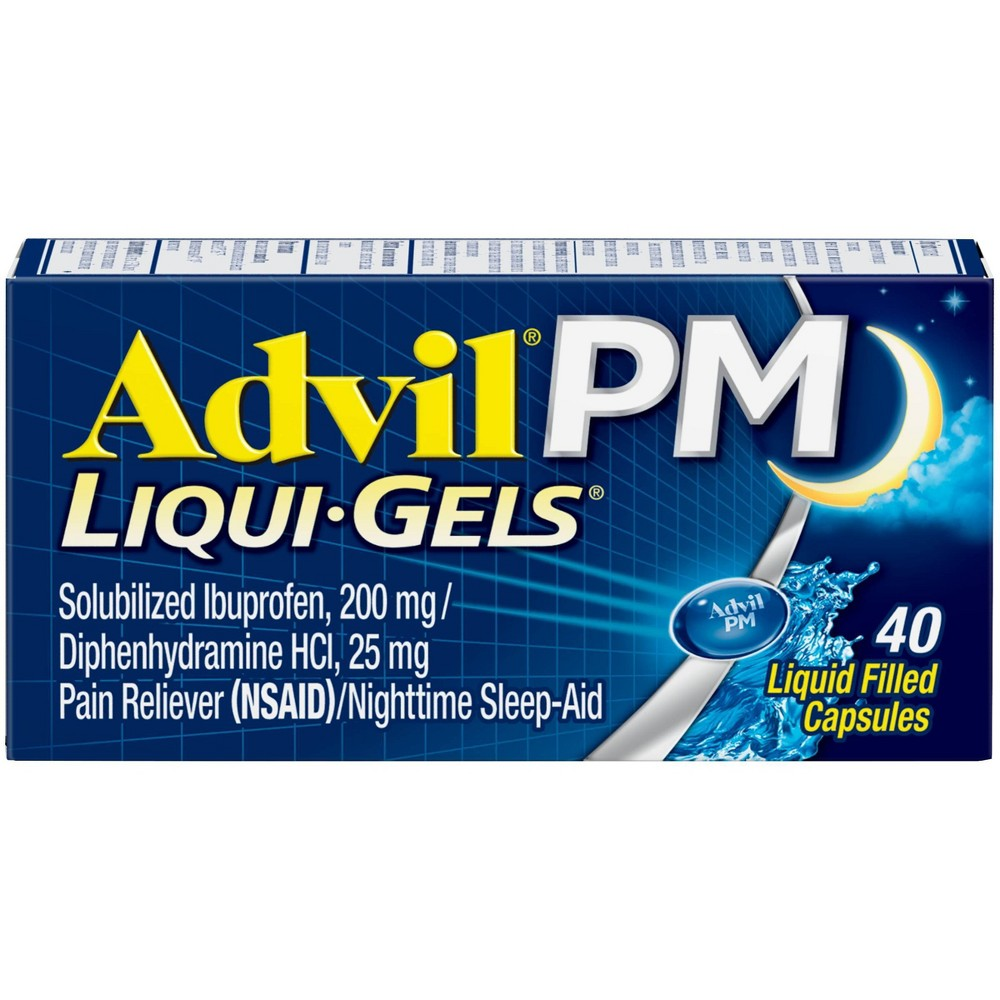 Advil Pm Liqui Gels Pain Reliever Nighttime Sleep Aid Liquid Filled Capsules Ibuprofen Nsaid 40ct