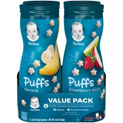 Gerber Puffs 4pk Variety Pack Strawberry-Apple & Banana - 5.92oz