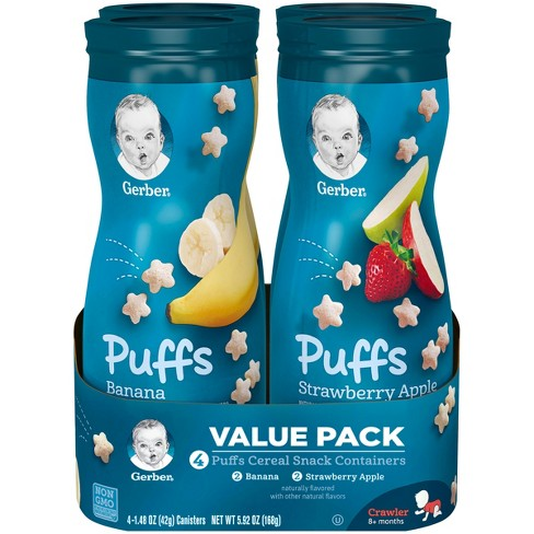 Gerber Puffs 4pk Variety Pack Strawberry-Apple & Banana - 5.92oz - image 1 of 4