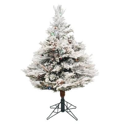3.5ft Pre-Lit Flocked Alberta with Cone Artificial Tree 150 LED Multicolor - Vickerman