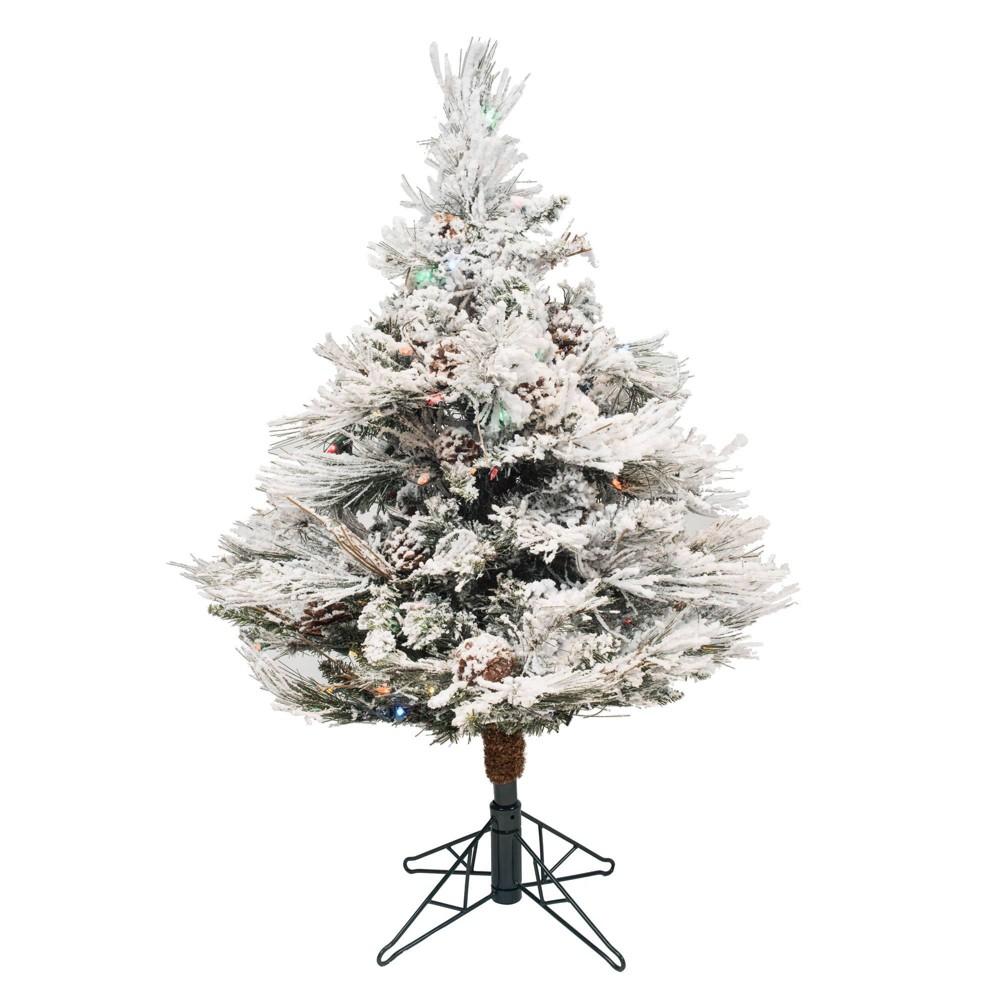 3 5ft Pre Lit Flocked Alberta With Cone Artificial Tree 150 Led Multicolor Vickerman