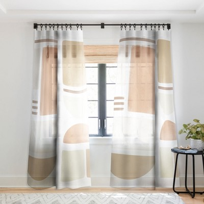 Bohomadic.Studio Geometric Shapes in Creme and Soft Pink Curtain Panel - Society 6
