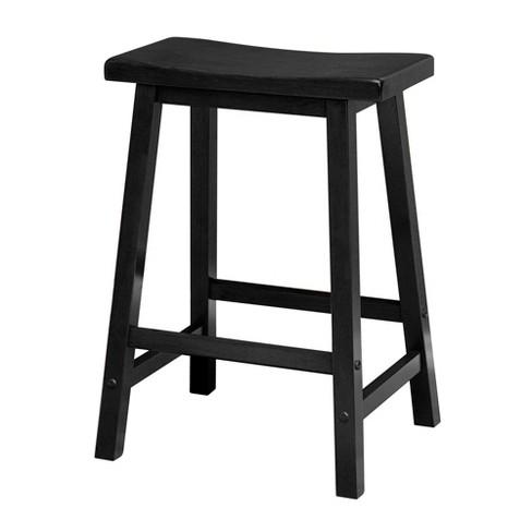 Satori 24 Saddle Seat Bar Stool Black Winsome Target