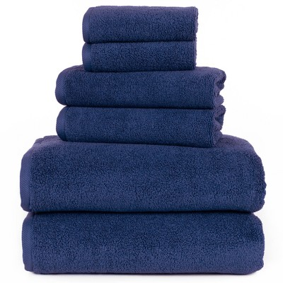 Solid Bath Towels And Washcloths 6pc Navy - Yorkshire Home