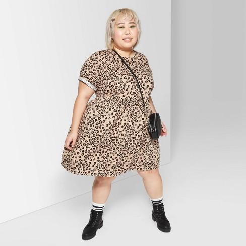 Women's Plus Size Leopard Print Round Neck Short Sleeve Knit Babydoll Mini Dress - Wild Fable™ Tan - image 1 of 3