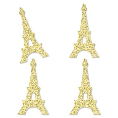 Big Dot of Happiness Gold Glitter Eiffel Tower - No-Mess Real Gold Glitter Cut-Outs - Paris Themed Baby Shower or Birthday Party Confetti - Set of 24