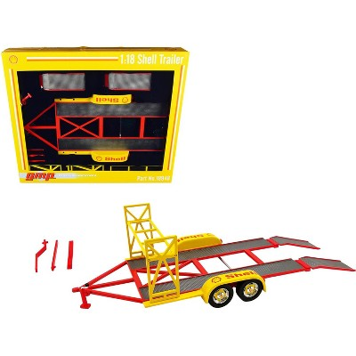 """Tandem Car Trailer with Tire Rack """"Shell Oil"""" Yellow 1/18 Diecast Model by GMP"""