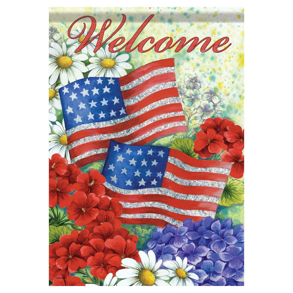 "Image of ""13""""x18"""" American Flag And Flowers Garden Flag - Carson, Multi-Colored"""