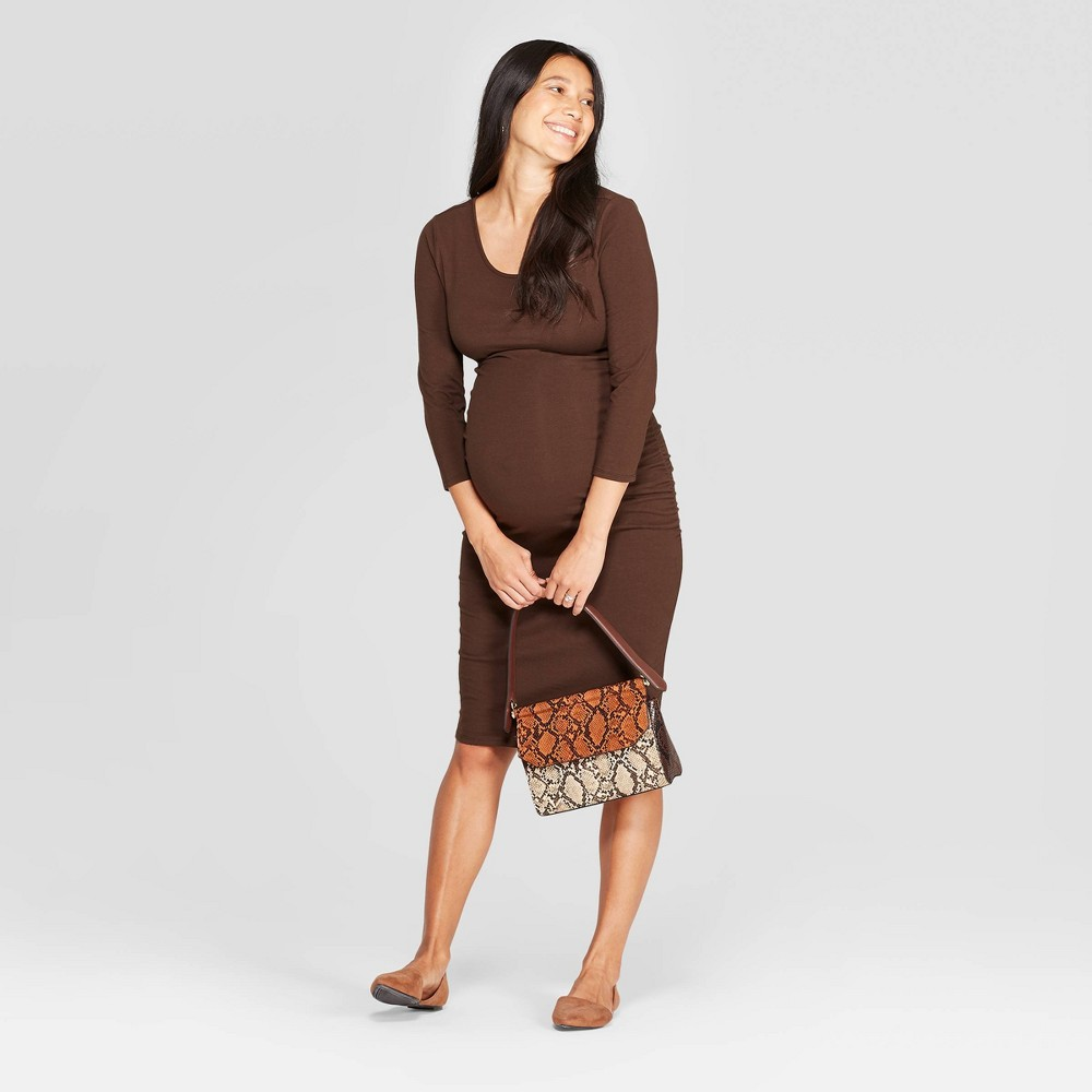 Image of Maternity 3/4 Sleeve Midi T-Shirt Dress - Isabel Maternity by Ingrid & Isabel Brown XS, Women's