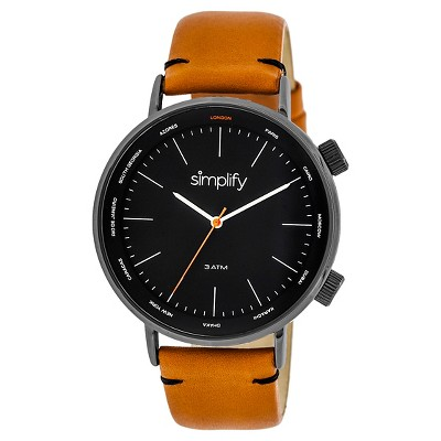 Simplify The 3300 Men's Leather-Band Watch