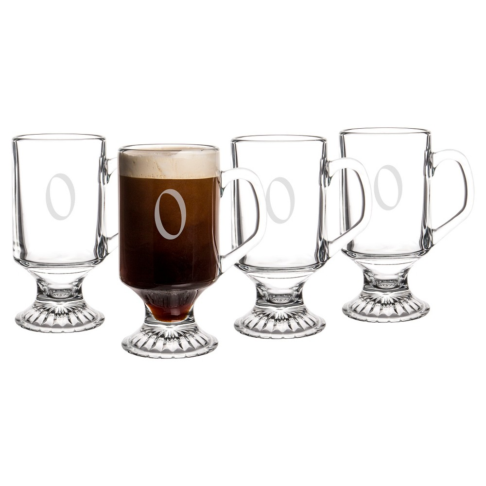 Cathy's Concepts 10oz 4pk Monogram Footed Irish Coffee Glasses O, Clear